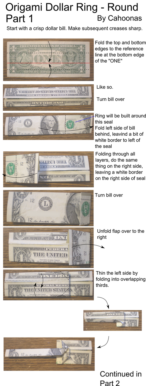 Dollar Bill Origami Turtle Instructions