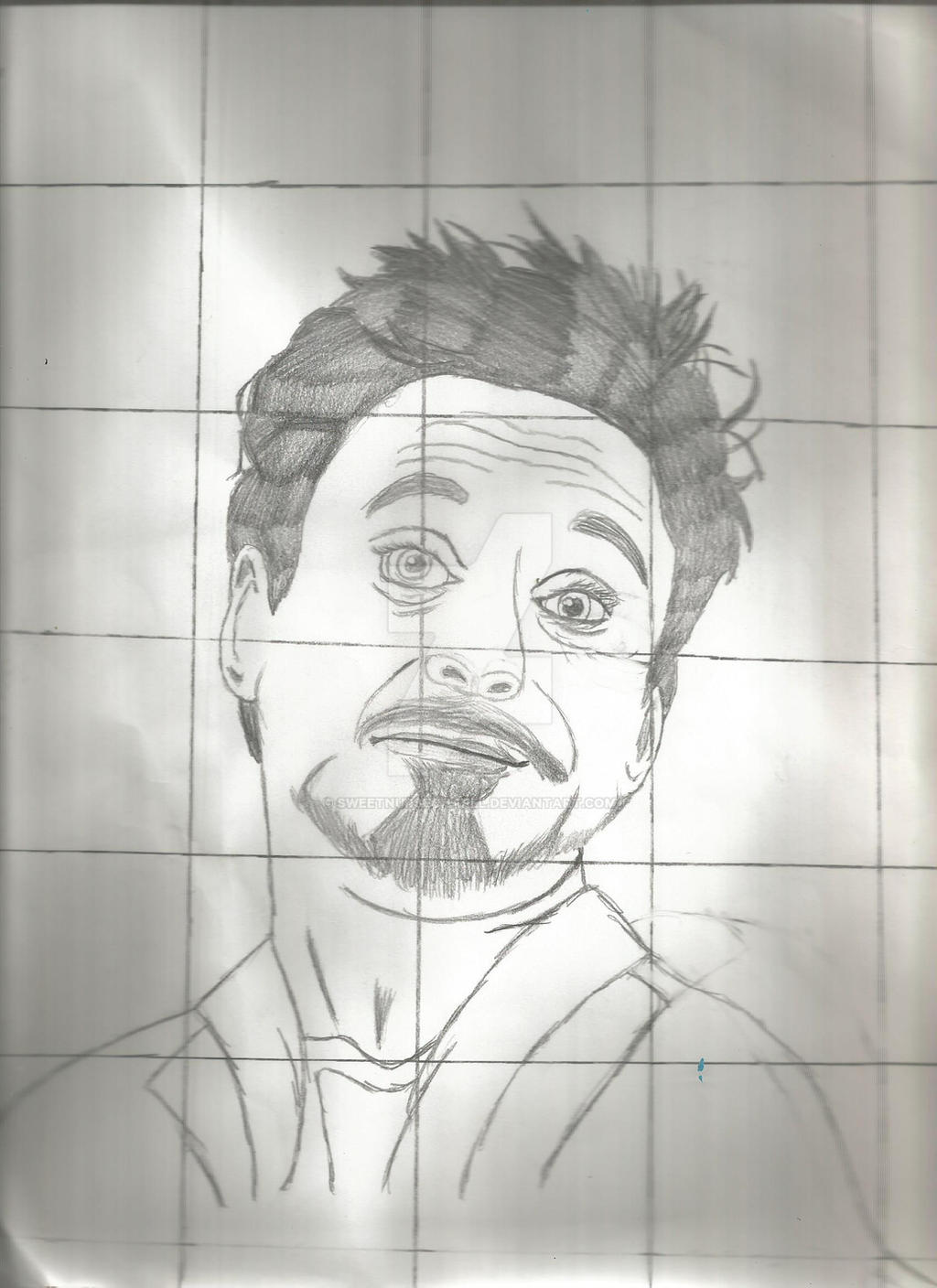 Tony stark drawing without color with grid by for Tony stark coloring pages