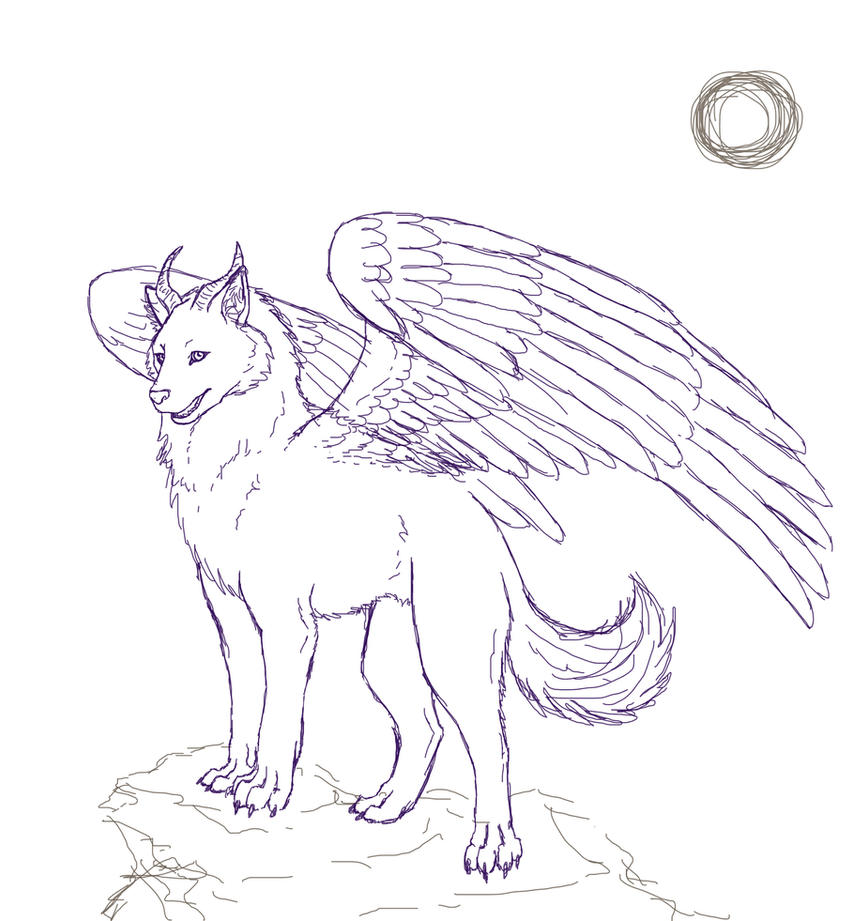 baby winged wolf coloring pages - photo#14