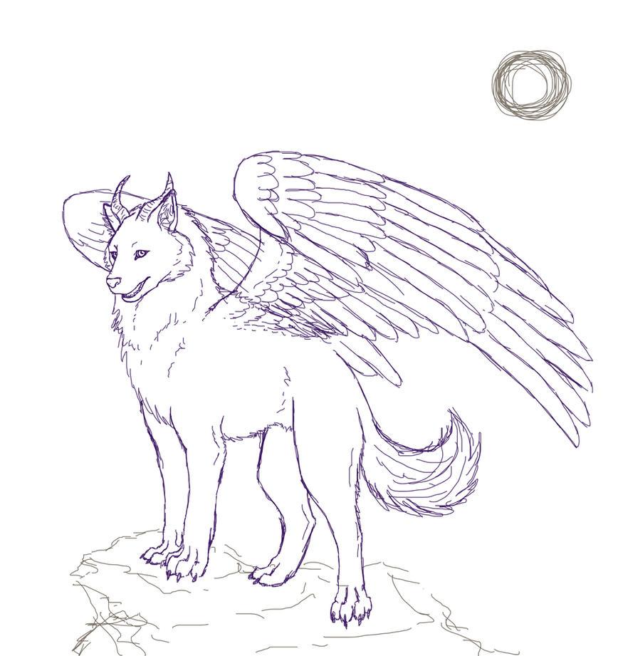 Winged Wolf Sketch By Stalaxy On Deviantart
