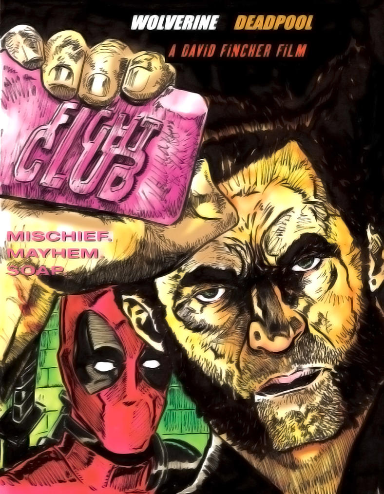 Deadpool Wolverine Fight Club by Mathieugeekboy