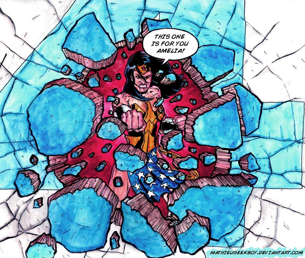 Wonder Woman Punching Wall by Mathieugeekboy