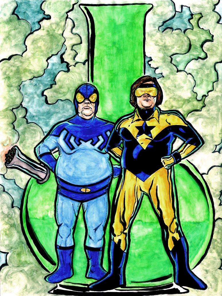 Tenacious D Booster Gold & Blue Beetle final by Mathieugeekboy