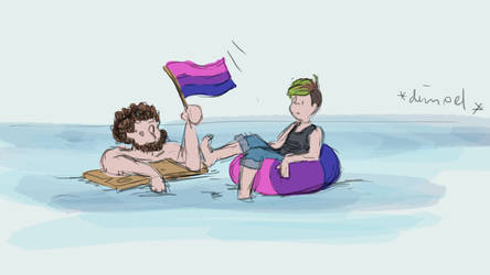 Bisexuals floating on the sea