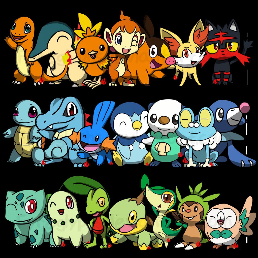 Pokemon Starters by Fyreglyphs