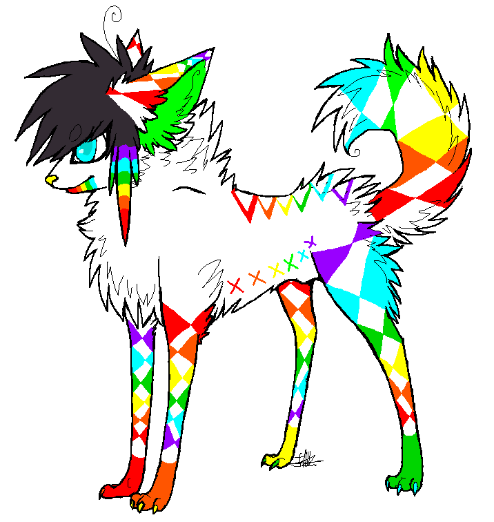 Rainbow Scene Dog Adopt (CLOSED) by DeerNTheHeadlights
