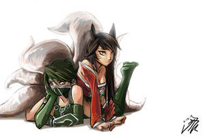 Ahri and Akali by wtfisalinh