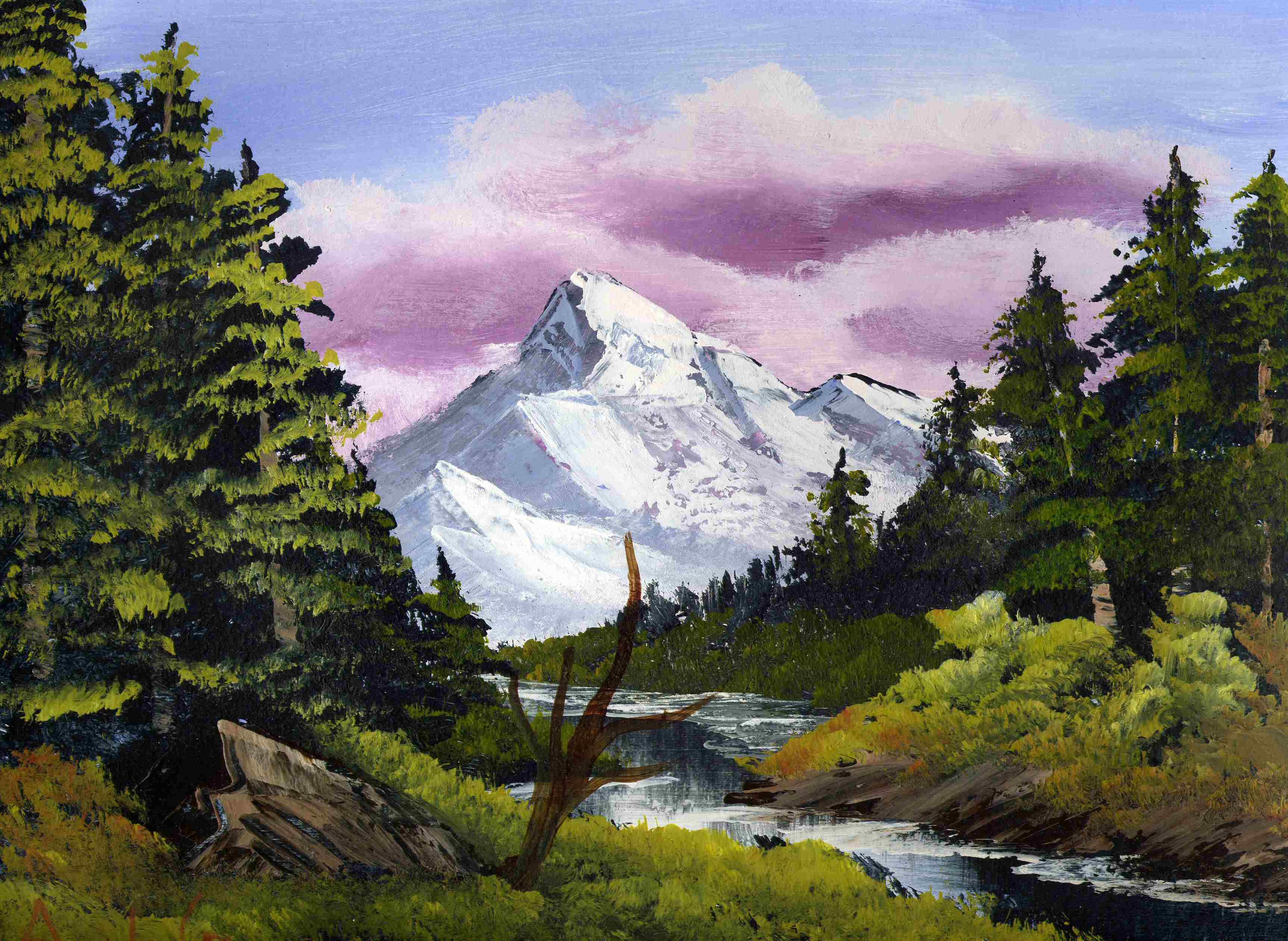 Зима природа, картинка гуашью гора с рекой