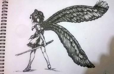 Aya Shameimaru - Pen and Ink by TheYoukaiofDimension