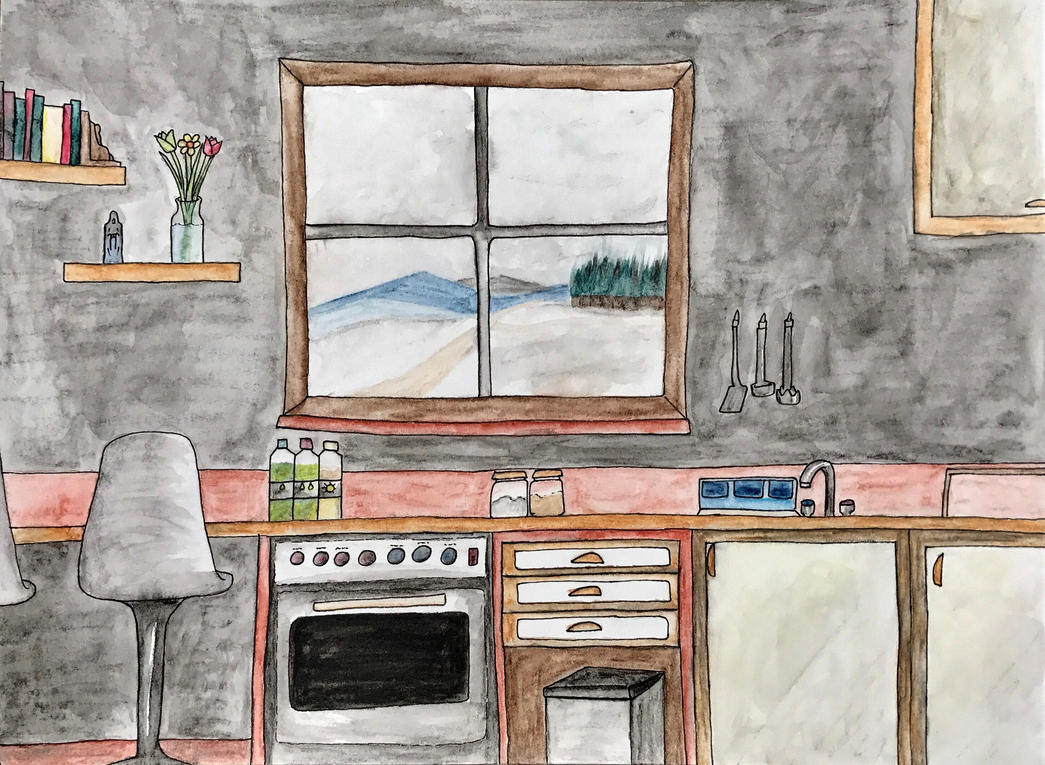 Watching the snow from the kitchen by szephyr
