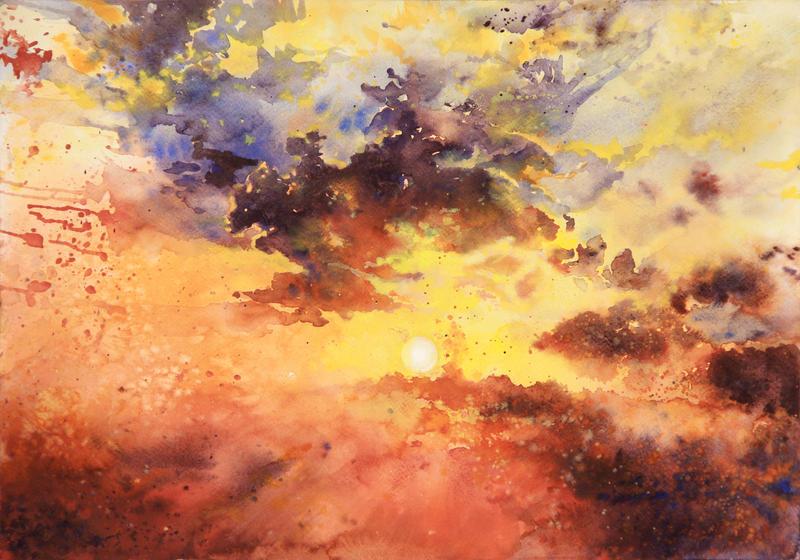 sky - watercolor practice 1 by Katarzyna-Kmiecik