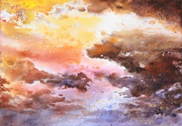 sky - watercolor practice 3 by Katarzyna-Kmiecik