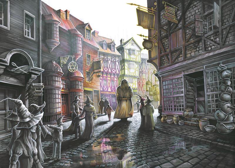 Image result for diagon alley illustration