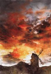 Windmill and the Sunset Sky by Katarzyna-Kmiecik