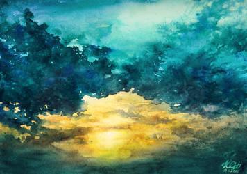 Watercolor Sky No 3 by Katarzyna-Kmiecik