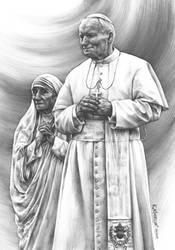 pope John Paul II and Mother Teresa by Katarzyna-Kmiecik