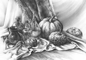 Still life with three pumpkins