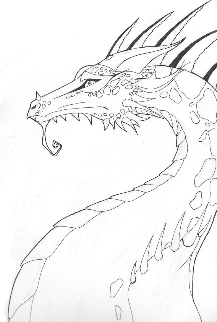 Dragon Lineart : Dragon lineart by ninerva d on deviantart