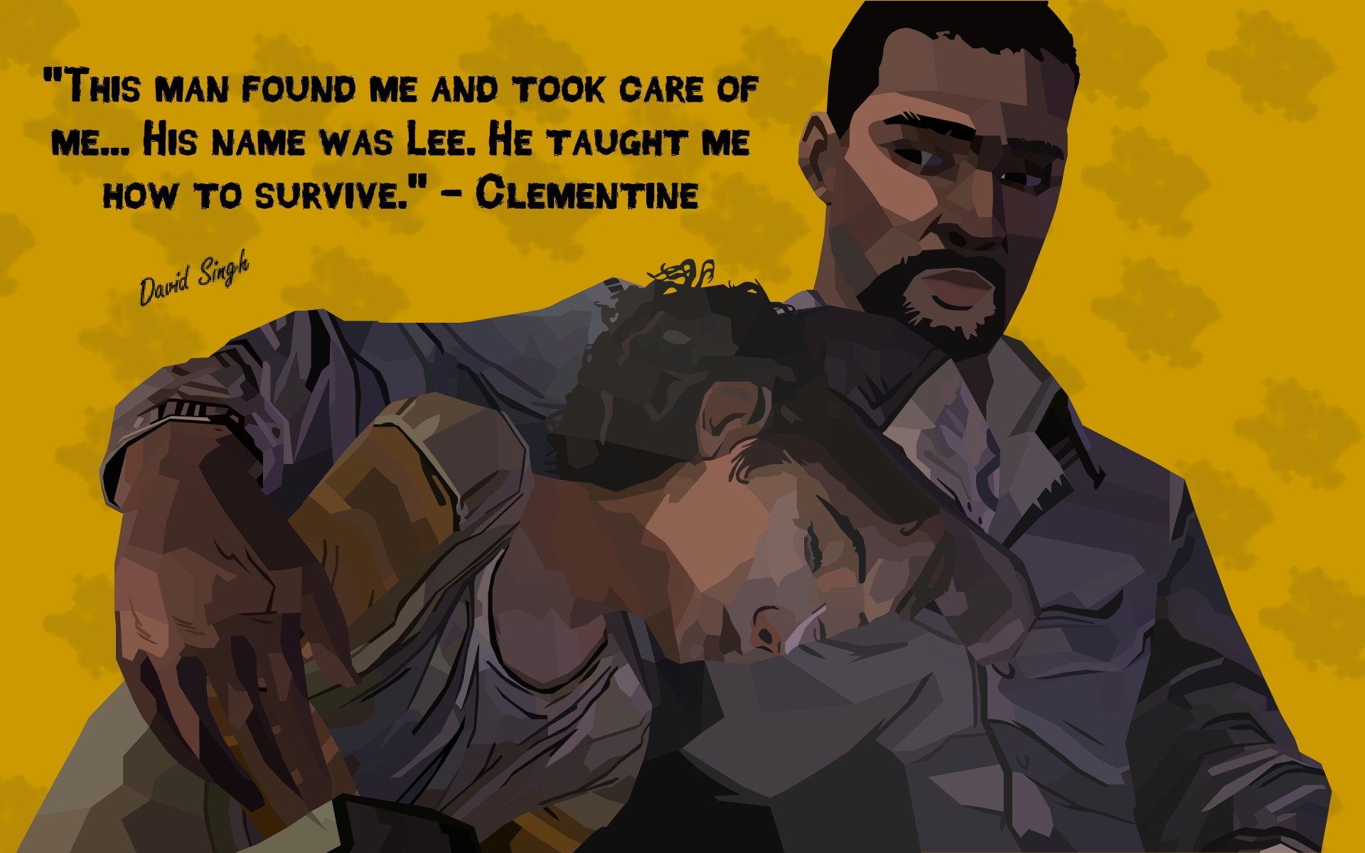 The Walking Dead Lee And Clementine Poster By Featdavid On