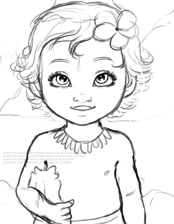 Line Drawing Baby Face : Baby moana wip by magato on deviantart