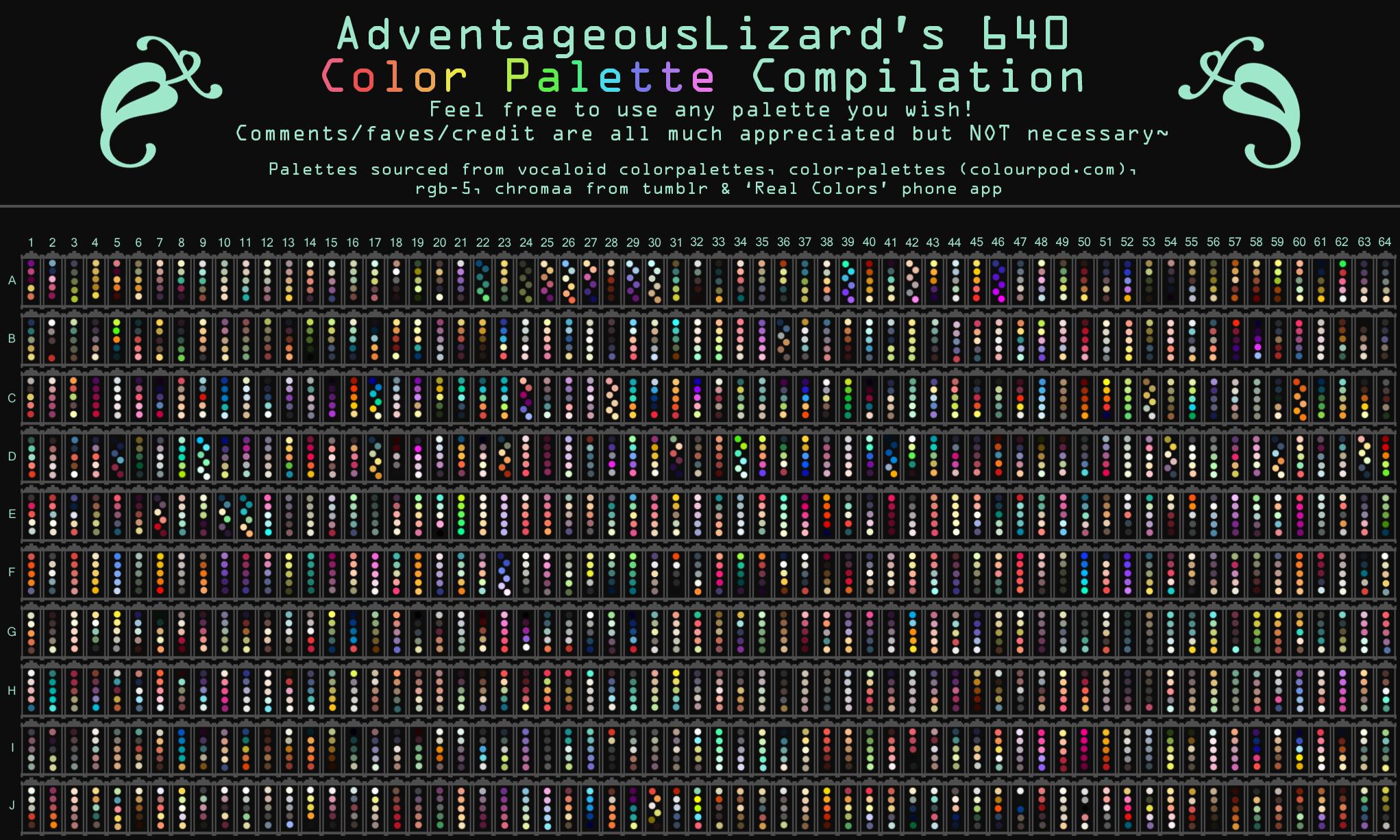 Adventageouslizard S 640 Color Palette Compilation By