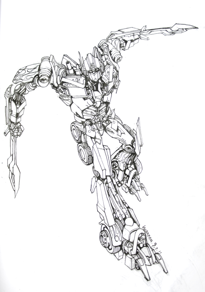 Optimus prime dotm lineart by hosanna9 on deviantart for Transformers sentinel prime coloring pages