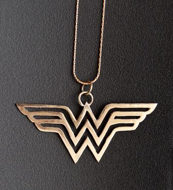 Brass Wonder Woman logo pendent