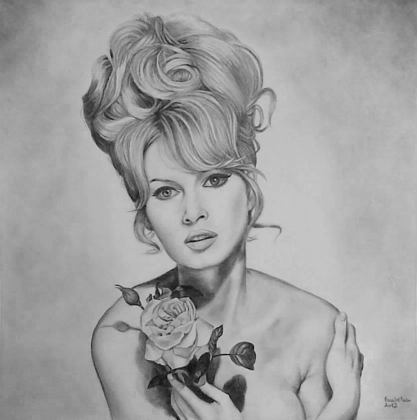 Brigitte Bardot and the rose. by ericadalmaso