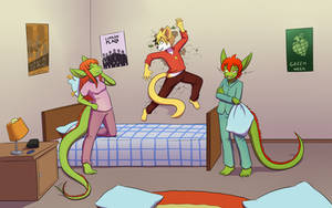 [commission] pillowfight with dragons by TheNekoboi