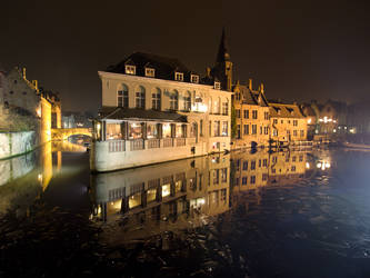 Icy Bruges or Brugge canals by Graid