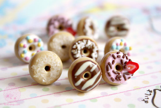 Donut studs earrings polymer clay miniatures by kukishop d4qpo6v