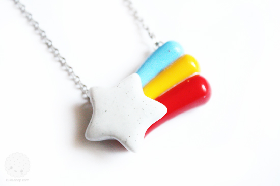 Shooting Star Necklace Polymer Clay by kukishop
