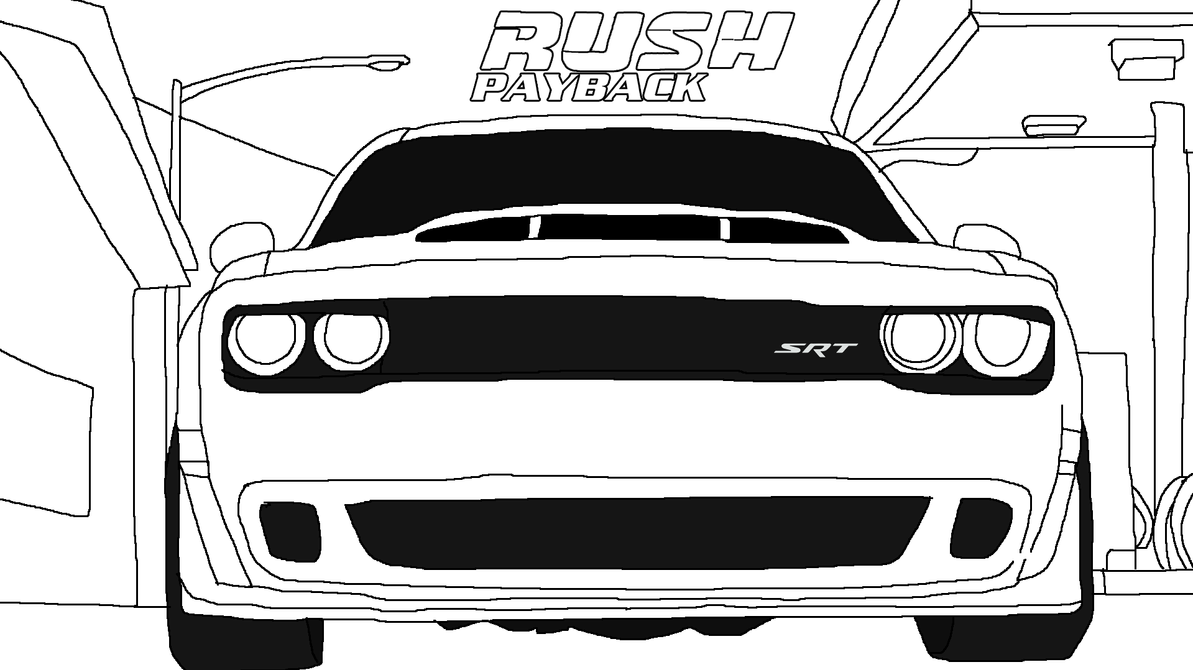 Rush payback dodge challenger srt demon lineart by for Hellcat coloring pages
