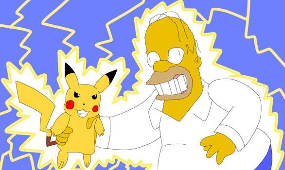 Pikachu used Thunderbolt to Homer