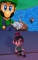 Vanellope react to Luigi takes over Mario