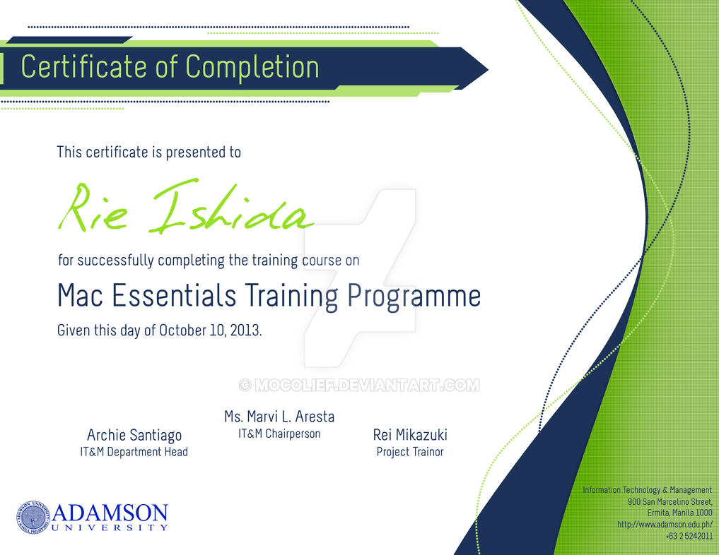 Doc33002550 Certificate of Completion of Training Template – Certificate of Completion of Training Template