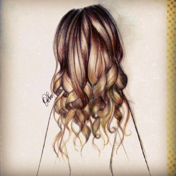 Long wavy hair drawings
