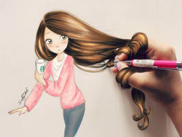 Starbucks Girl - by DebbyArts