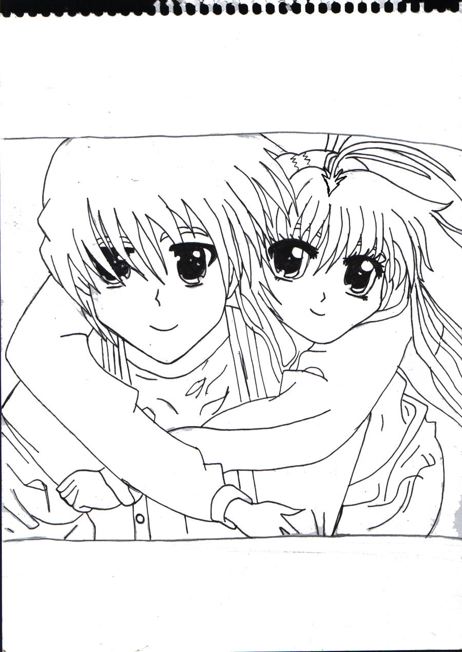 Sketch Of A Romantic Hug Coloring Pages