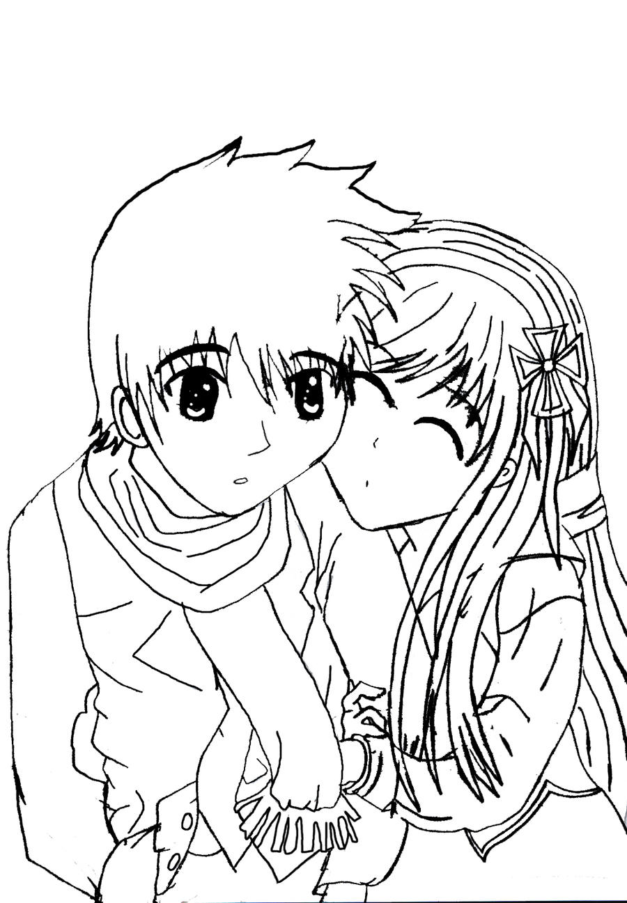 Sweet Anime Couples Drawings Sketch Coloring Page
