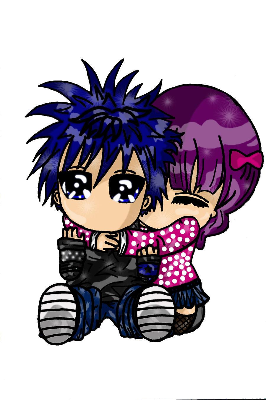 Cute chibi couple highlighted by x xanimenerdx x