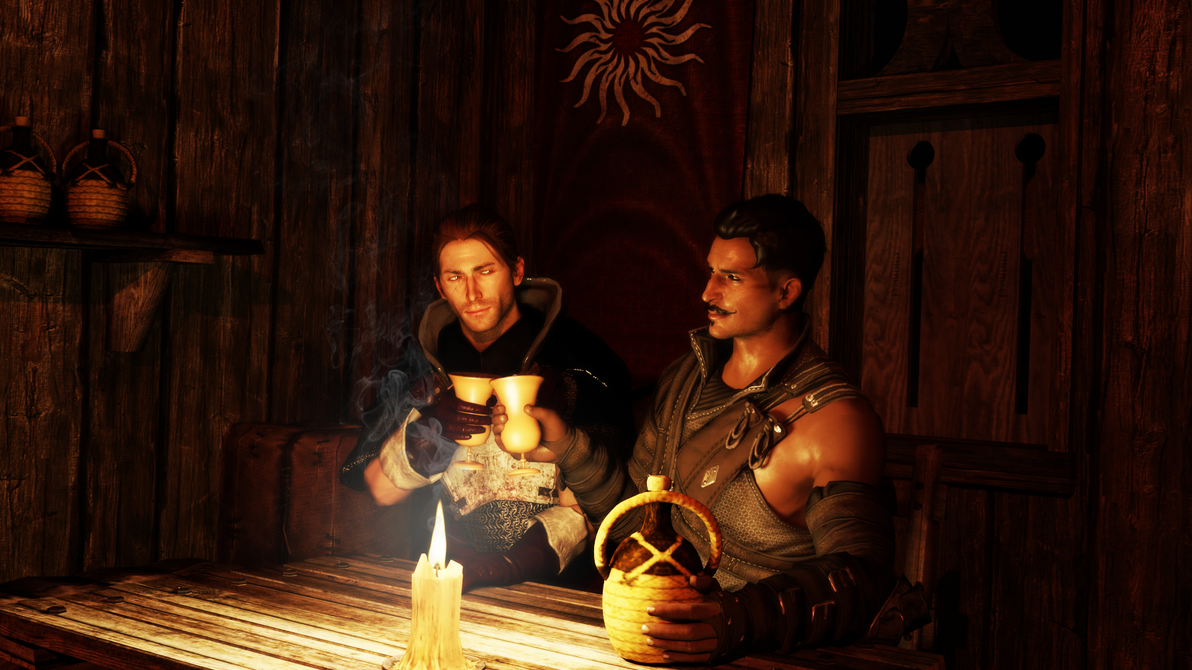 Vax and Dorian doing a toast by Cazad0ra