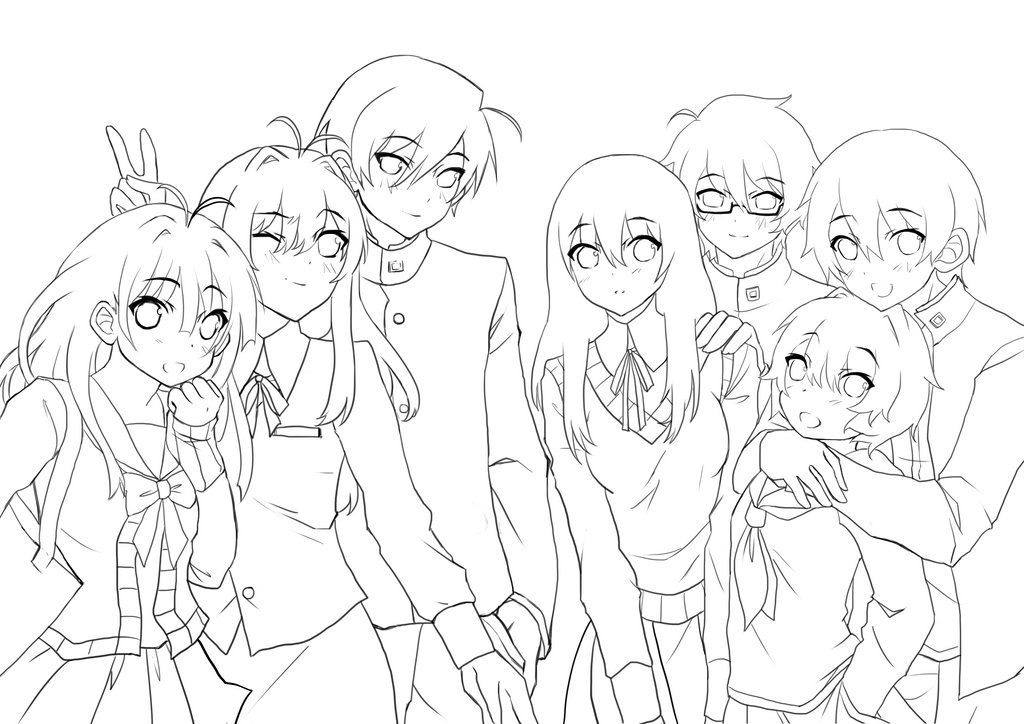 Anime Best Friends Group Drawings Sketch Coloring Page