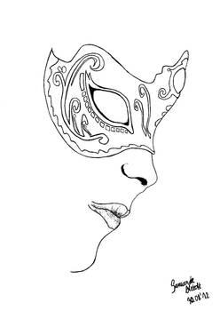 Venetian mask part II lineart