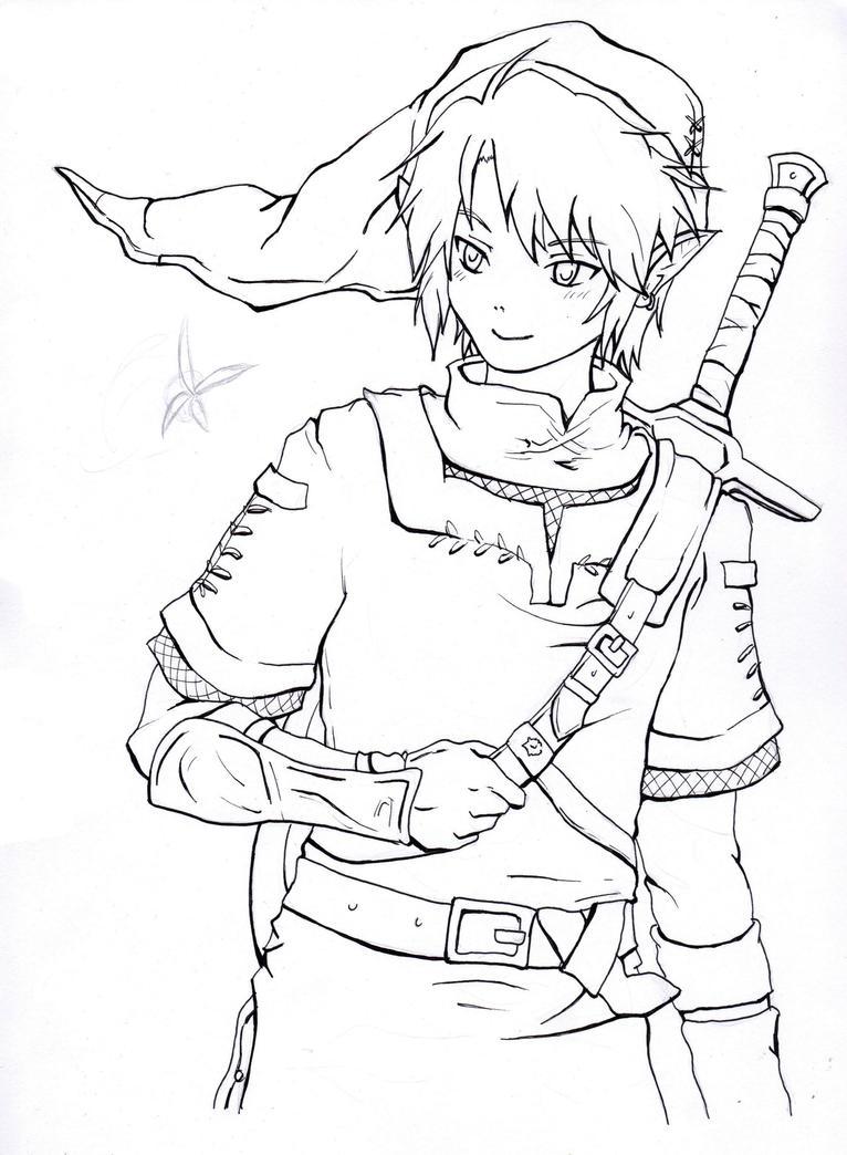 Line Art Zelda : Link the legend of zelda by sellisplayground on deviantart