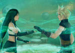 Cloud and Tifa in the Lifestream