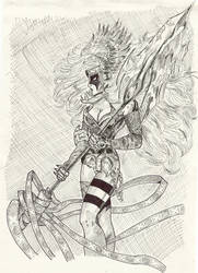 Angela Spawn Hunter ink drawin by moonqueen