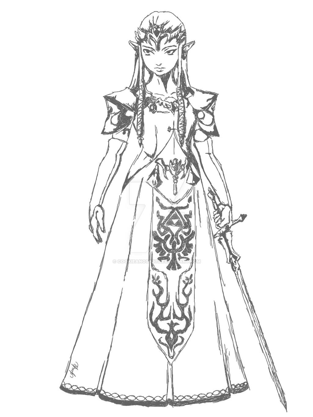 Line Art Zelda : Zelda line art or base by cookieanosh on deviantart