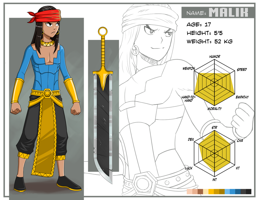 Character Design Contest : Malik character design sheet for contest entry by