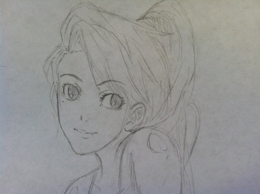 Anime girl sketch by farahmuthi